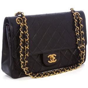 Chanel Double Flap Vintage Black Lambskin Leather